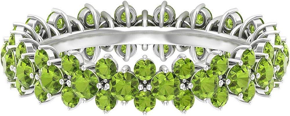 Anillo de eternidad único, anillo de boda nupcial, anillo de peridoto de forma redonda de 2,9 quilates, anillo de piedra natal de agosto, anillo de aniversario, 18K Oro