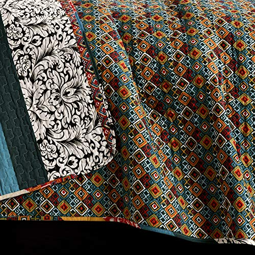Lush Decor Boho Stripe Quilt Reversible 3 Piece Bohemian