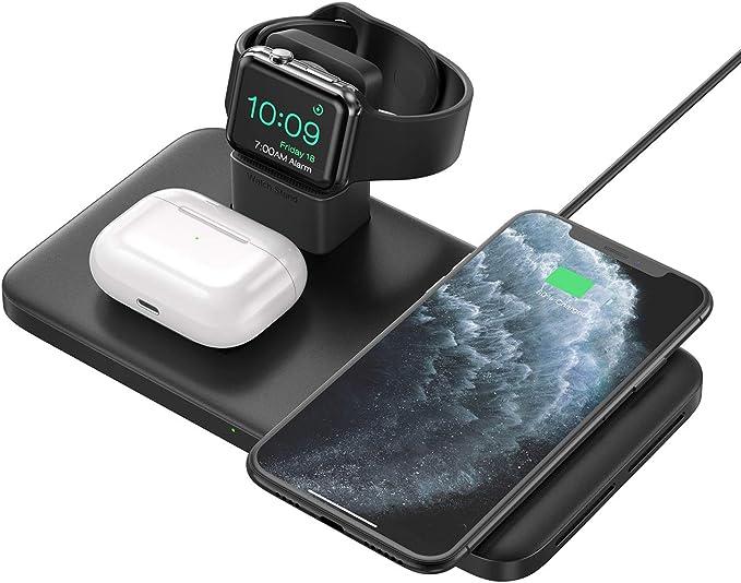 estaci/ón de Carga inal/ámbrica 3 en 1 Compatible con iPhone 12//11//XR//XS,AirPods Pro Samsung Galaxy S10 AUKEY Almohadilla de Carga del Cargador inal/ámbrico S8 S9 Note 10//9