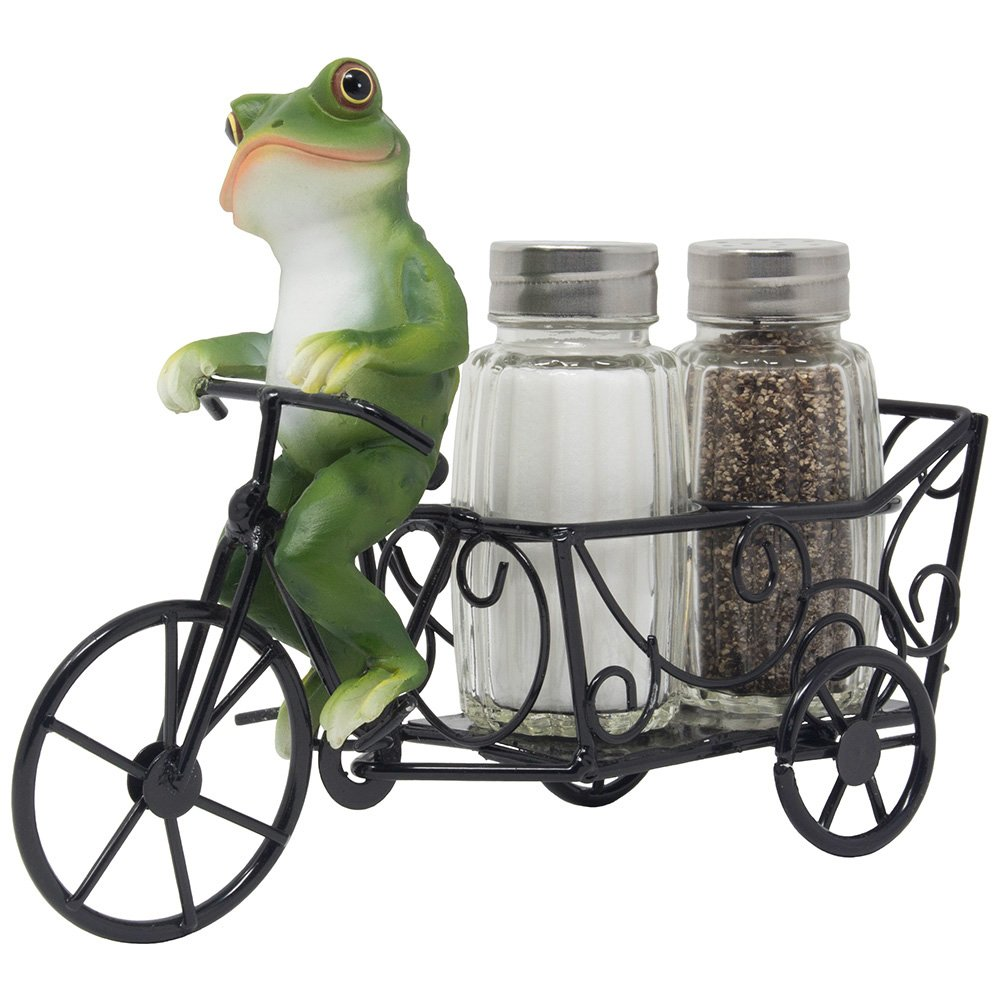 Decorative Frog Riding Bicycle Cart Salt and Pepper Shaker Set Display Stand Figurine for Whimsical Restaurant Dining Room Table Centerpieces or Cottage Kitchen Decor Spice Racks As Housewarming Gifts