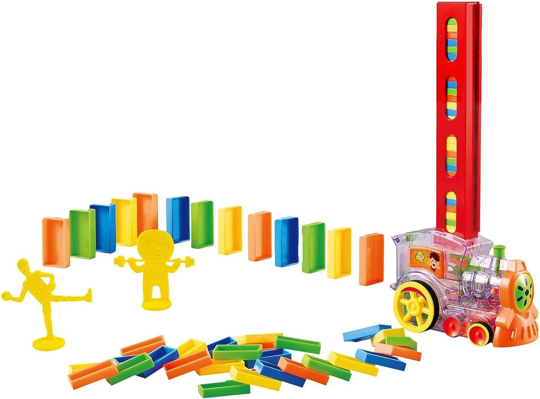 YJYQ Tren Eléctrico Domino,80PCS Juguete Colorido De Dominó,Juego Automático De Distribución De Rally,con Luces Y Sonidos,Tiene Mecanismo De Expulsión, Regalos para Niños