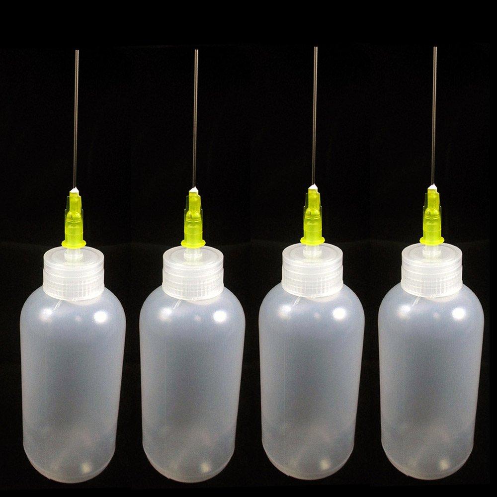 4 Needle Tip Plastic Bottle Dispenser Oil Solvent Ink Applicator Dropper 0.7 Oz by ATB
