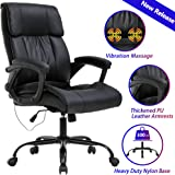 Home Office Chair Ergonomic Desk Chair Massage Computer Chair with Lumbar Support Armrest Headrest Rolling High Back PU Leather Adjustable Swivel Task Executive Chair for Women Men