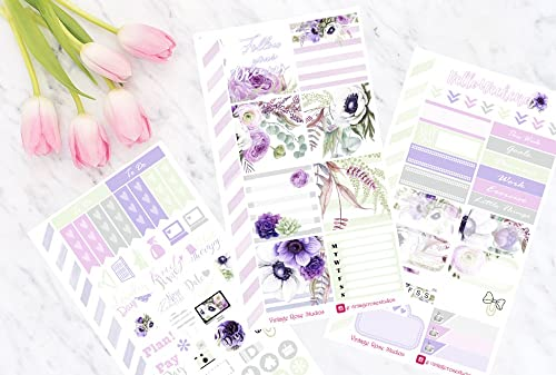 Sewmuchcrafting Stickers Erin Condren Kate Spade notebook /& Happy Planner Mauve Personal Planner Stickers Weekly Kit All Planners