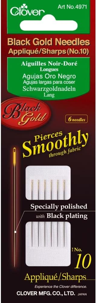 No 10 Pack of 6 Applique//Sharps Clover Black Gold Needles
