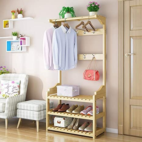 Amazon.com: Hanger Racks Clothes Rail Coat Rack Floor Solid ...