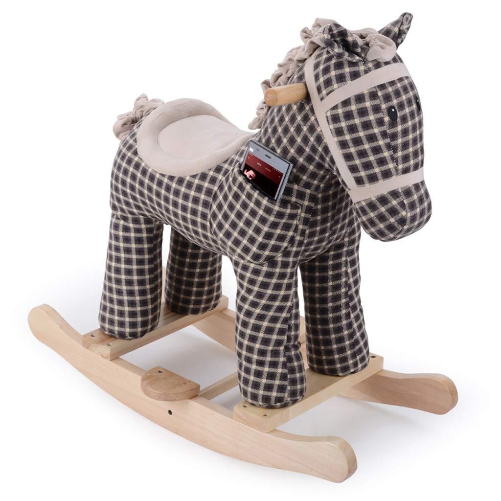 Cavallo a dondolo LINGZHIGAN Giocattolo per Bebè a Doppio Uso Musica Cavallo in Legno massello a durezza del Dono (colore   Without Wheels)