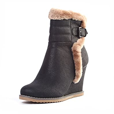 8cd67dc0c Alexis Leroy Women and Girls Faux Fur Wedge Heel Insole Snow Boots Black 7  UK /
