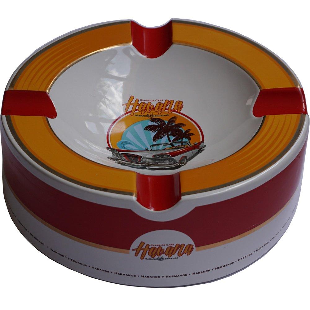 H&H Old Havana Cars Cigar Ashtray - Old Mustard (10'' x 3 1/4)