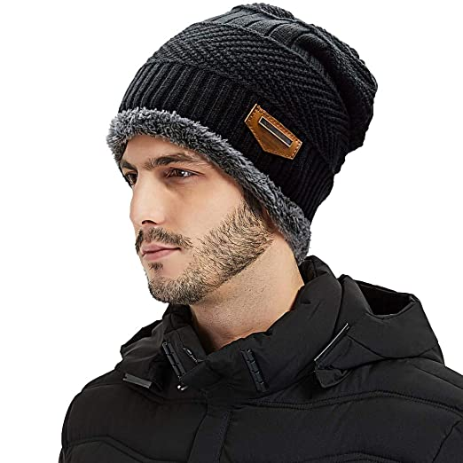 cf8d1333a92ae6 MORECOO Winter Beanie Hat Warm Modern Knit Hat Thick Soft Lined Skull  Casual Cap for Men