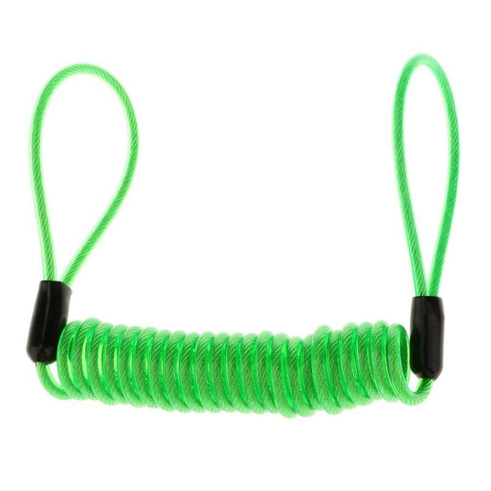 TOOGOO(R) Motorbike Helmet Bicycle Steel Wire Double End Loop Cable Lock Up Rope - Green rope 1.5M
