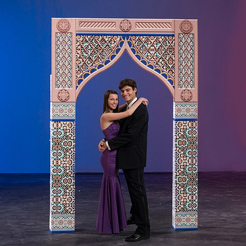 6 ft. 11 in. Moroccan Nights Small Center Arch Standup Photo Booth Prop Background Backdrop Party Decoration Decor Scene Setter Cardboard Cutout