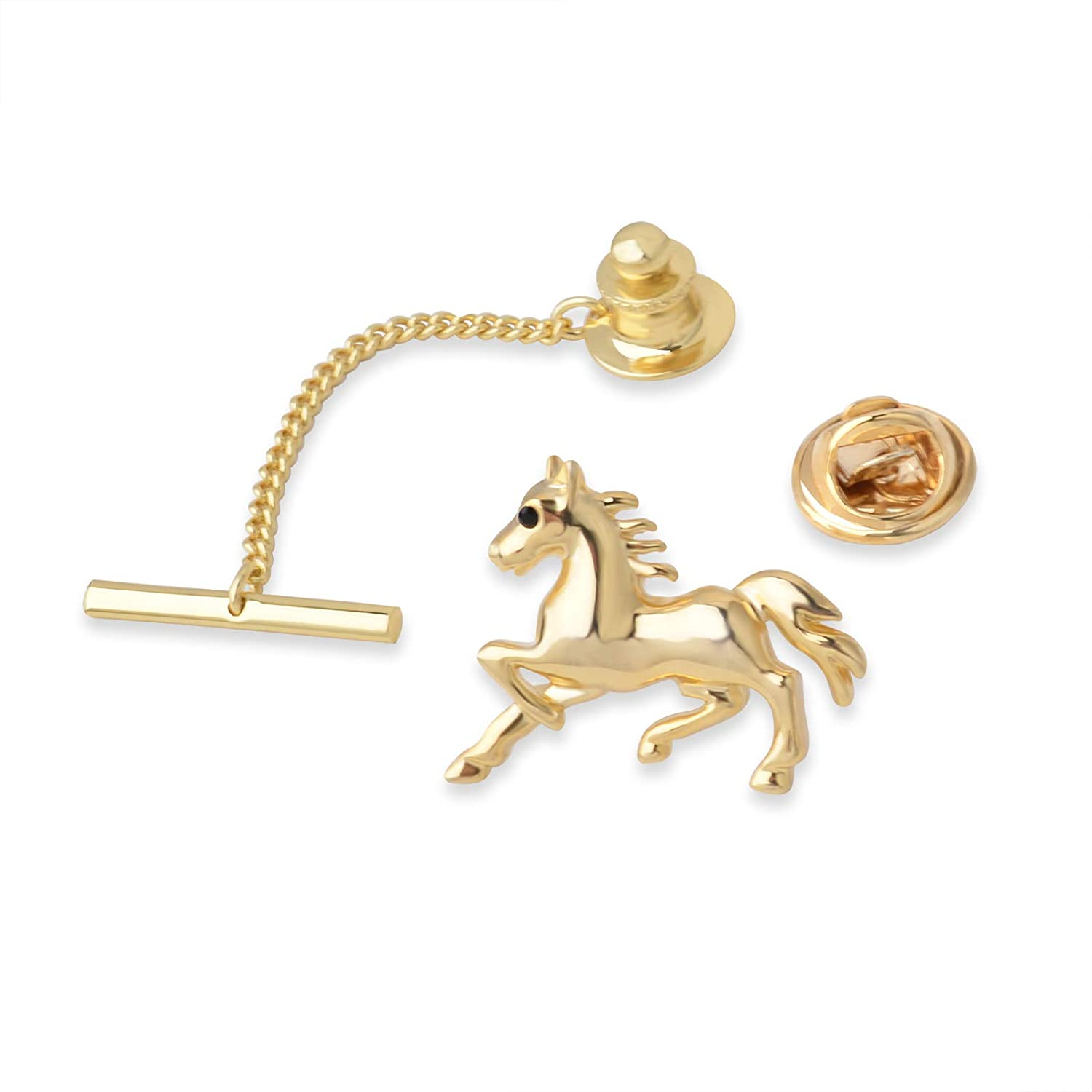 YYBONNIE Mens Horse Tie Necktie Tack Pin with Chain Lapel Pin Gold Silver Tone Wedding Business Accessories