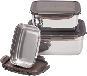 AQUIVER 304 Stainless Steel Food Containers - 6400ml Total Capacity Kimchi Storage Box - Freezer & Dishwasher Safe - for Pickles, Picnic, Camping, Salad, Sandwich, Set of 3 Sizes