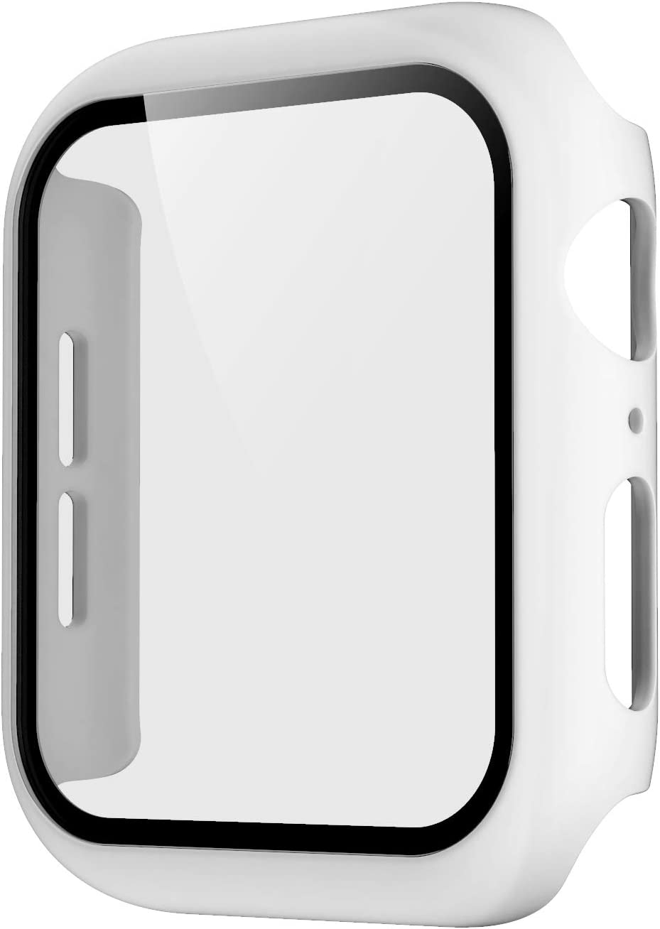 Pokanic Compatible with Apple Watch SE 6 5 4 3 2 1 Series iWatch 9H Tempered Glass Case Full Body Screen Protector Cover Wireless Charge Light Weight Scratch Resistant Proof (White, 40mm)