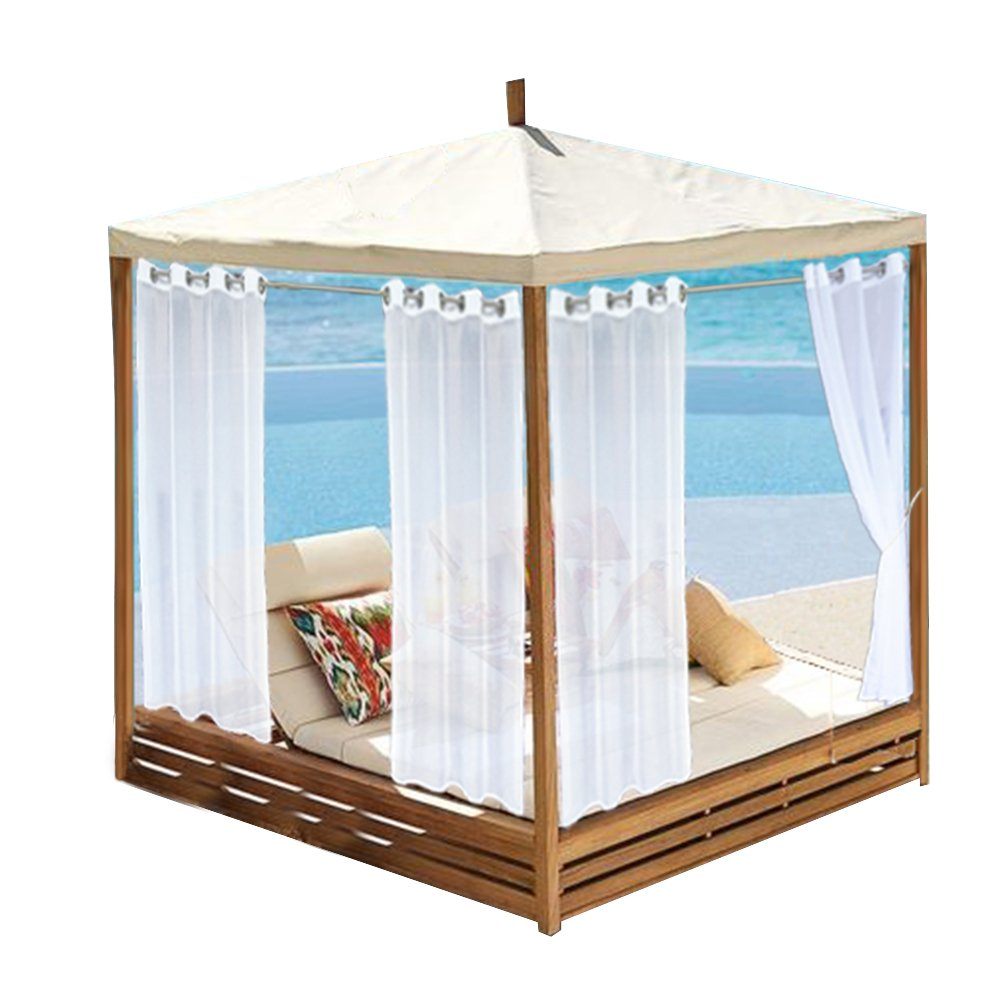WARMSUN White Indoor Outdoor Voile Curtain Grommet Top Sheer Curtain Water Repellent Drapery Panel with 1 Rope Tieback for Patio/Pergola/Yard,One Piece,52 by 96 Inch by WARMSUN