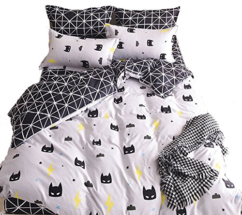 (Nattey Black Bed Pillowcase Duvet Cover Quilt Cover Set (Queen))