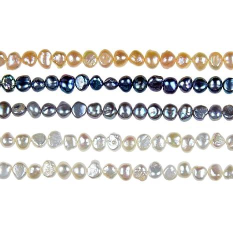 a967533cb953 thetastejewelry 7 – 8 mm auténtica crepúsculo blanco agua dulce cultivadas perlas  joyería Making collar curación