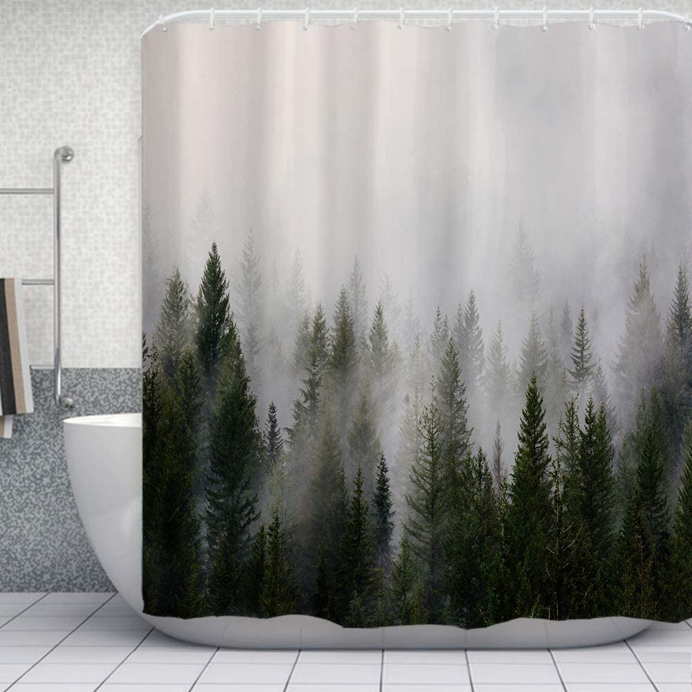 ORTIGIA Misty Forest Shower Curtains,Nature Shower Curtain,Woodland Shower curtain,Fantasy Fog Magic Tree Bath Curtain for Bathroom,Fall Shower Curtain,Waterproof Polyester Fabric-72