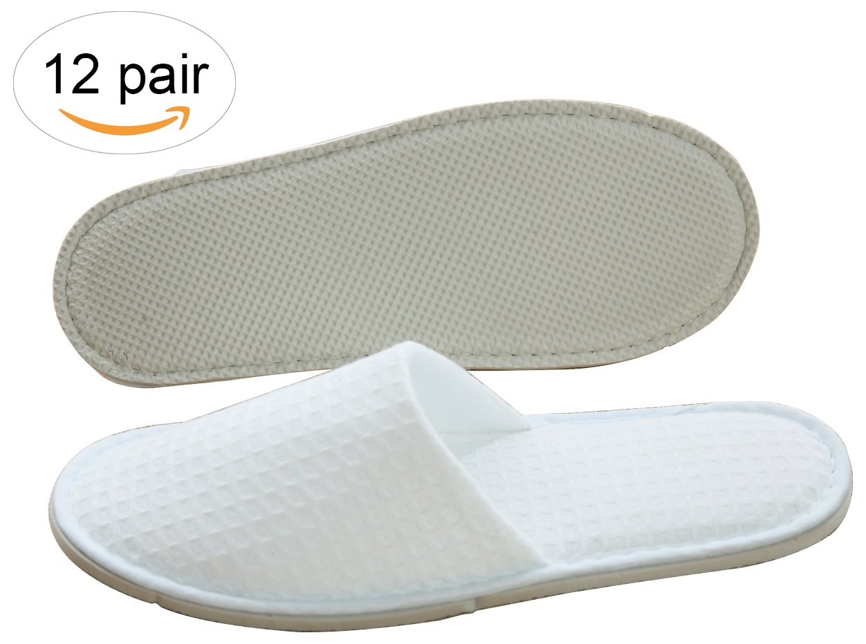 Three Artisans Featured Waffle Closed Toe Spa Hotel Slippers For Men and Women 12 Pack