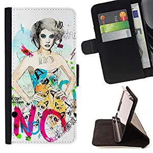 - No Dress Woman Grumpy Fashion - Estilo PU billetera de cuero del soporte del tir???¡¯????n [solapa de cierre] Cubierta- For HTC One M9 £¨ Devil Case £©