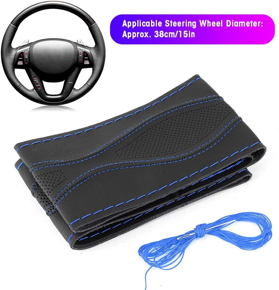 Steering Wheel Cover,38cm//15in Steering Wheel Wrap Cover Hand Stitching Embossing with Needle and Thread Universal Leather Black Blue