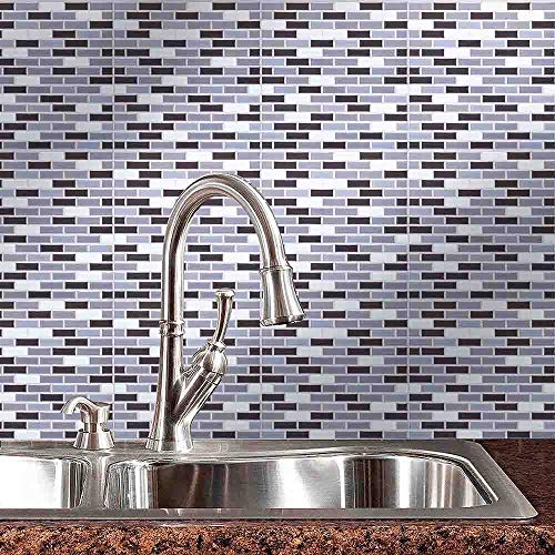 ESFD2C Tiles Mosaic Wallpaper 9-Inch x 9-Inch Backsplash Tiles for Bathroom Kitchens Wall Tile Square Sheets Backsplashes ()