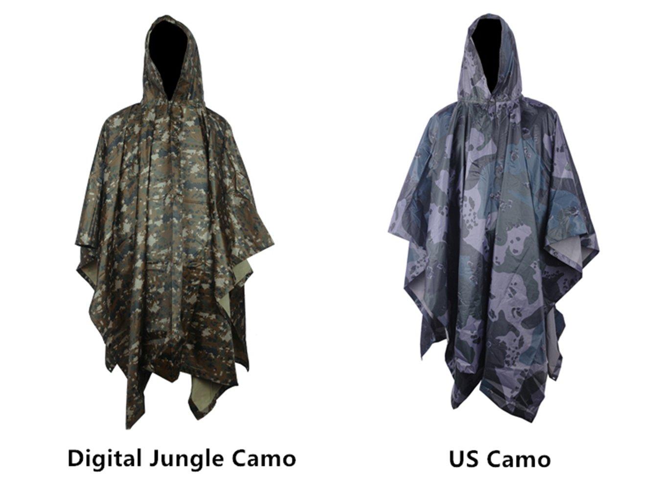 D/&D Multifunzione Militare Impermeabile Camo Raincoat Pioggia Impermeabile Cappotto delle Donne degli Uomini del Motociclo Pioggia Poncho per Pesca di Campeggio Woodland Camo
