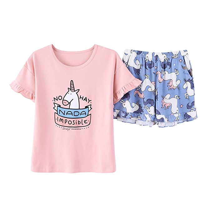 91f25fada Vopmocld Big Girls' Pretty Cartoon Horse Pajamas Cute Unicorn Pjs Cotton  Sleepwear 6-14