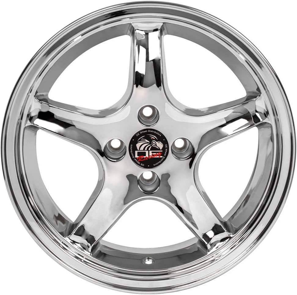 Partsynergy Replacement For 18 Rim Fits 1994-2004 Ford Mustang Bullitt Style Chrome 18x9 Wheel