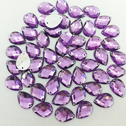 PEPPERLONELY 50PC Purple Sew On Tear Drop Flat Back Faceted Acrylic Crystals Rhinstones, 13x18mm(1/2x11/16 Inch) by PEPPERLONELY