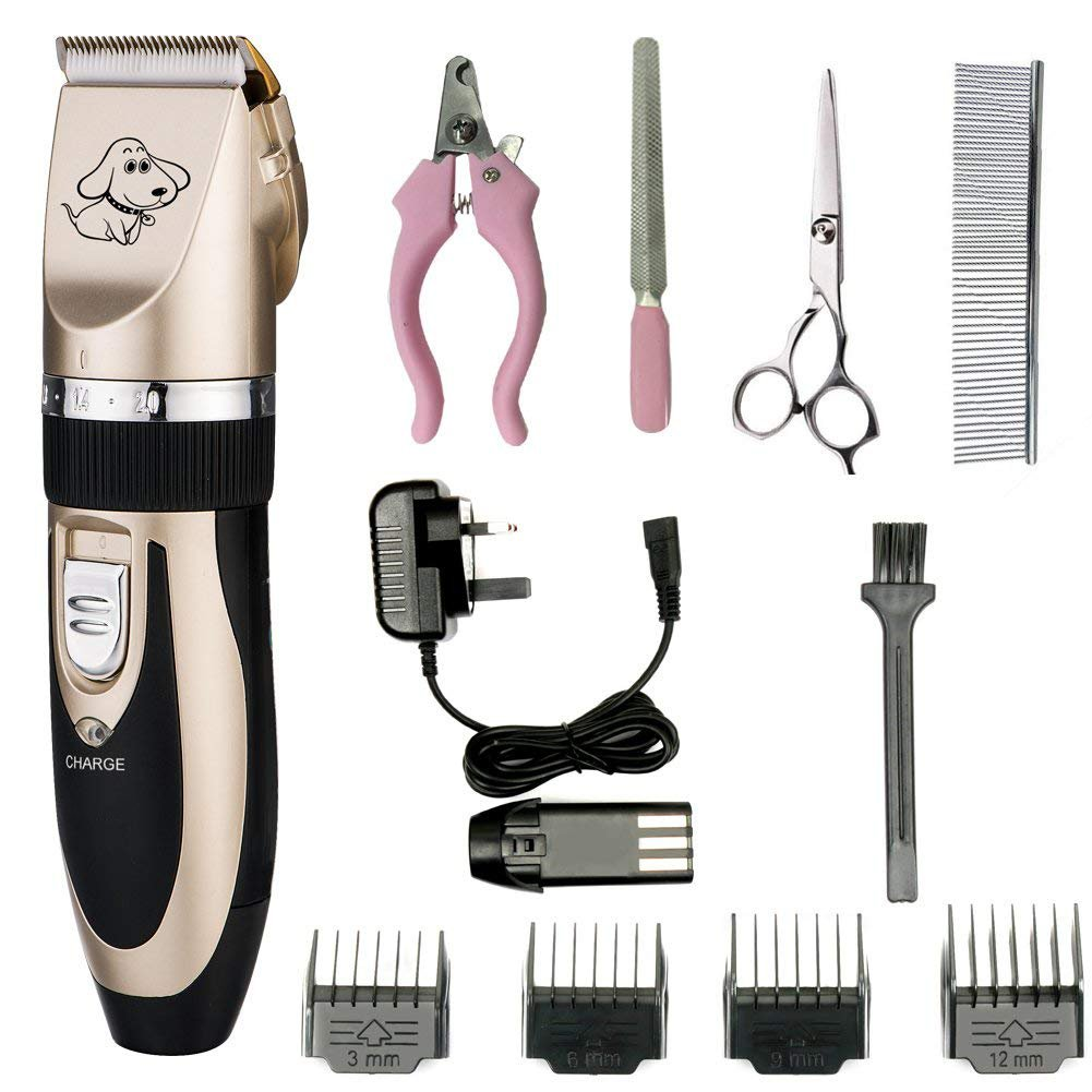 Dog Beauty Electric Clipper Rechargeable Cordless Hair Repairer Low Noise Dog Razor With 4 Limit Combs And Cleaning Brush Nail Kit For Dog And Any Animal gold