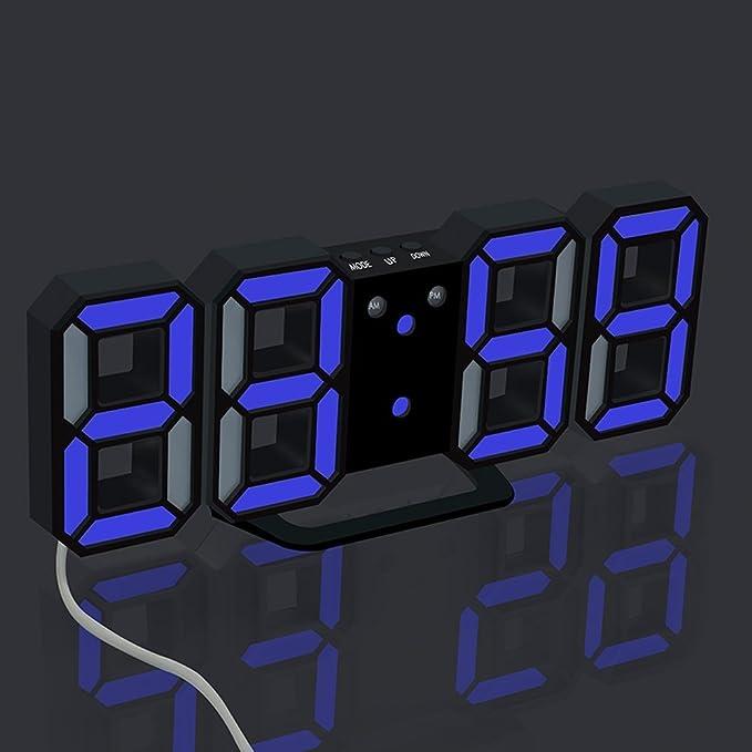 Home Decor Lovely 3d Led Wall Clock Modern Digital Table Desktop Alarm Clock Nightlight Saat Wall Clock For Home Living Room Office 24 Or 12 Hour Home & Garden