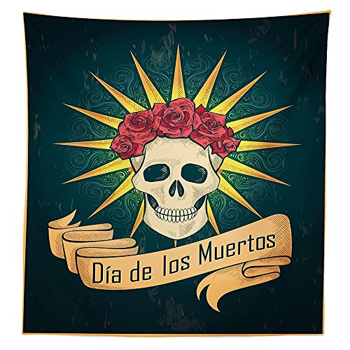 [Day Of The Dead Decor Tablecloth Sugar Skull with Roses and Dia de los Muertos Print Grunge Style Art Dining Room Kitchen Rectangular Table Cover Dark] (Monster High Dia De Los Muertos)
