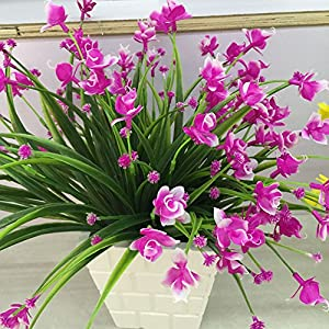 Nyalex 1 Bunch(1 Bunch=21Head) Artificial Flowers With Leaf Wedding Decoration Simulation Phalaenopsis Flower Home Decor [Pink] 4