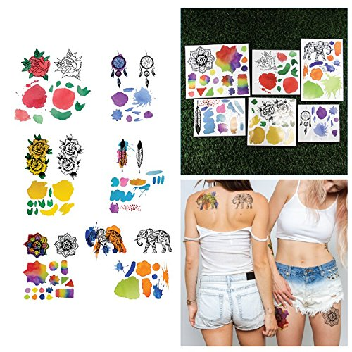 Tattify Assorted Water Color Temporary Tattoos - Romeo Lacoste Collection (Set of 6 Sheets) and Fashionable Removable Fake Temporary Tattoos - Long Lasting and Waterproof
