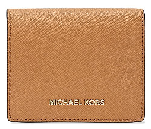 Michael Kors Women's Jet Set Travel Saffiano Flap Card Holder Leather Wallet - Acorn (Card Flap Holder Womens)