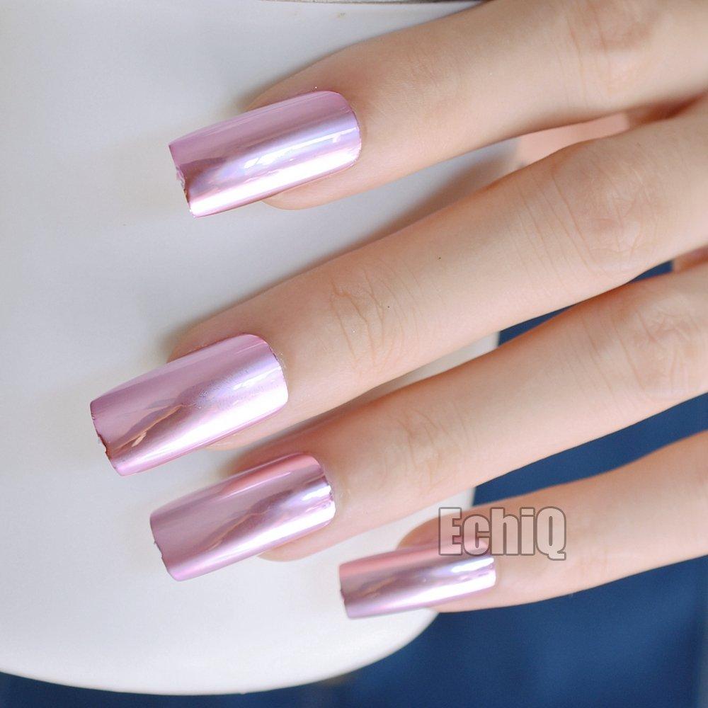 Amazon.com : Metallic Nail Art Tips Square Top Extra Long Acrylic ...