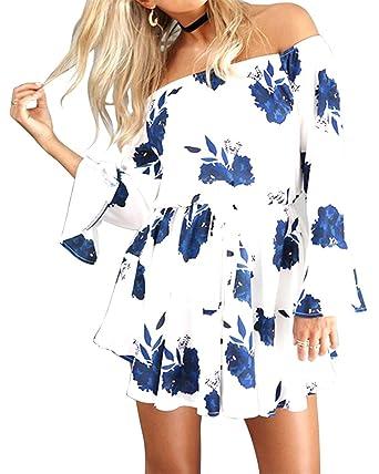 62da8d9254e Pxmoda Women s Off Shoulder Floral Print Beach Dress Ruffle Mini Dress (S