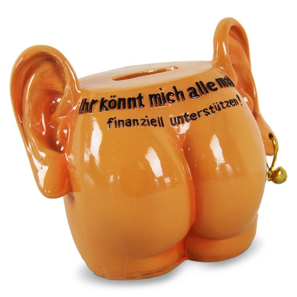 4 x HC-Handel 914698 Spardose Arsch mit Ohren mit Schloss Scherzartikel 12 cm