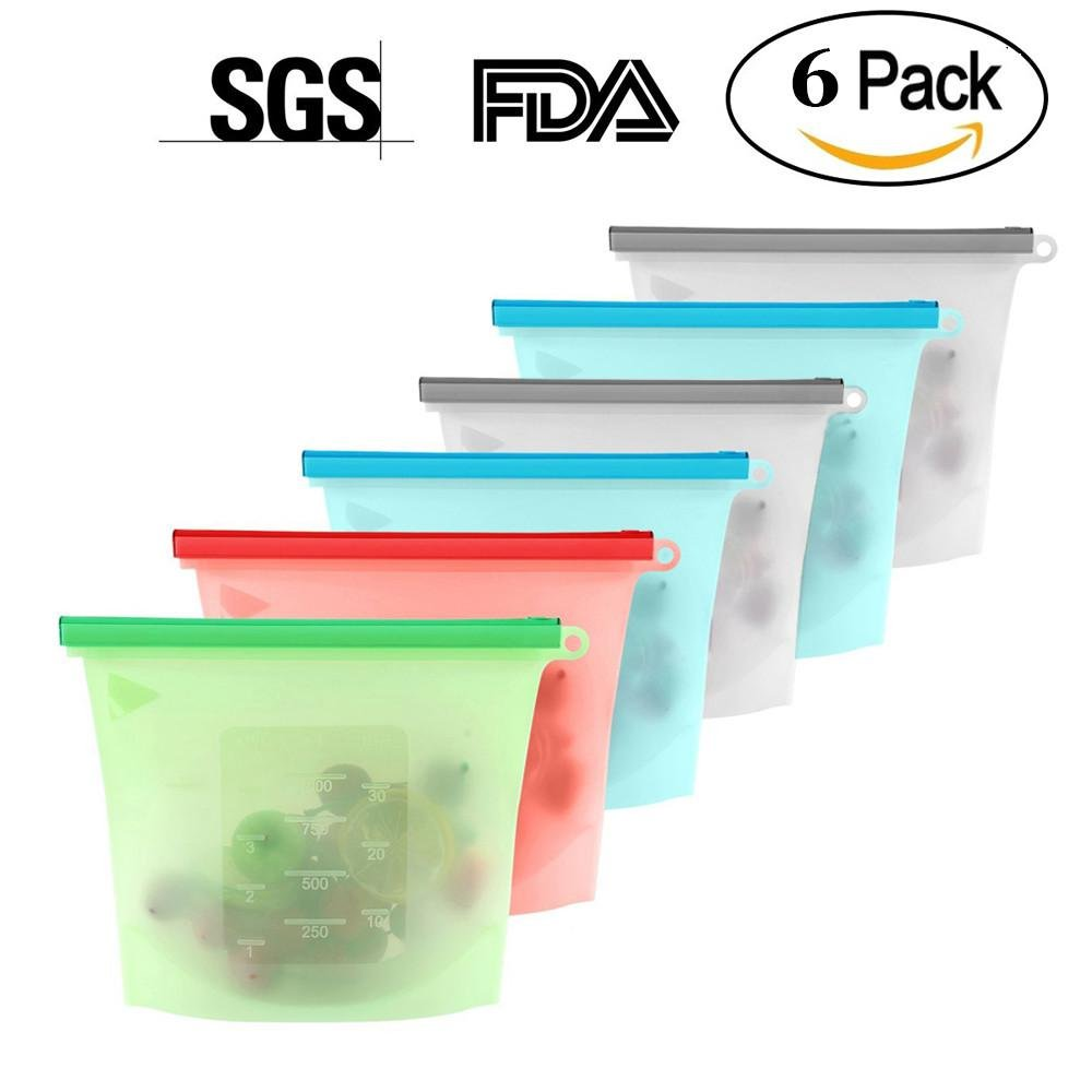 6 Pieces Food Storage Bags, 23cm X 17.5cm, BPA Free Silicone, Heat/Cold Resistant, Reusable & Recyclable for Fruit Vegetable Meat Milk, FDA SGS Approved KOBWA