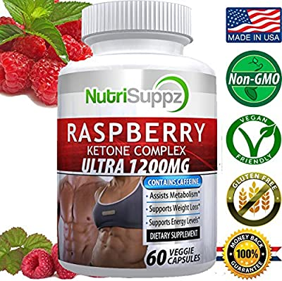 Raspberry Ketone COMPLEX ULTRA 1200mg, Weight Loss Product, Thermogenic Effect - Green Tea Extract, African Mango, Grape Seed Extract - 60 Veggie Capsules