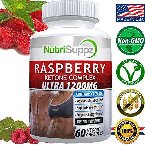 100% Pure Raspberry Ketone COMPLEX ULTRA 1200mg, Weight Loss Pills, Thermogenic Effect – Green Tea Extract, African Mango, Grape Seed Extract – 60 Veggie Capsules