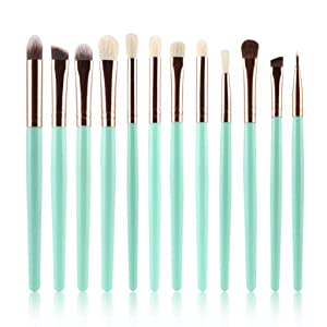 Usstore 12pcs Makeup Brush Cosmetic Brush Makeup Brush Sets Kits Tools (Green)