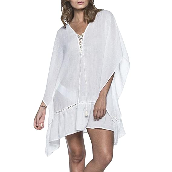 🍎🍎Mujeres Mini Vestido Piebo Mujer Moda Cubrir Blusa Tops Traje de Baño Bikini borlas