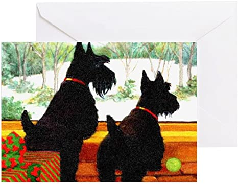 SCOTTISH TERRIER SCOTTIE DOG TWO DOGS BIRTHDAY GREETINGS NOTE CARD