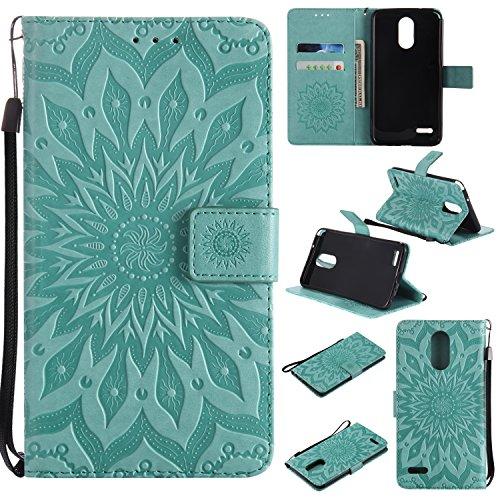(LG Stylo 3/LG Stylo 3 Plus Case Cover,SMYTU Premium Emboss Sunflower Flip Wallet Shell PU Leather Magnetic Cover Skin with Wrist Strap Case for LG Stylo 3/LG Stylo 3 Plus(Green))