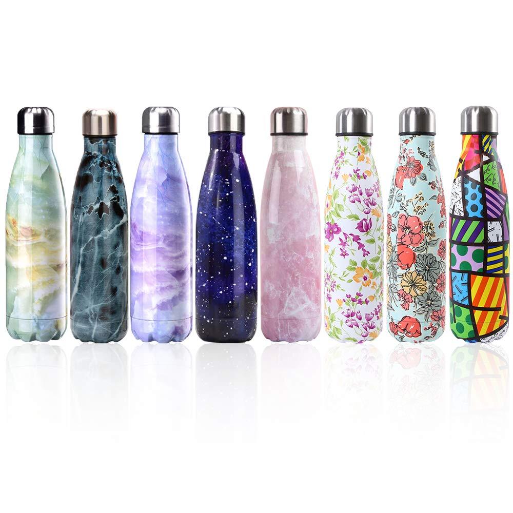 Newday1 Botella de Agua de Mantiene Bebidas frías por 24h y Calientes por 12h 500ML de Doble Pared con Aislamiento de Botella de Agua de Acero ...