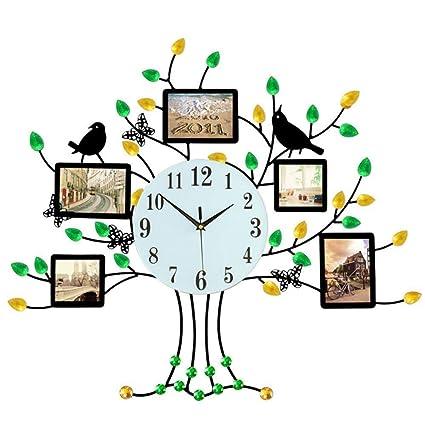 Shisky Reloj de Pared,Banda Decorativa portaretrato Mudo de Cuarzo Reloj de Pared de Silencio