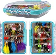 94pcs Dry Wet Fly Fishing Flies Lures Tackle Box Set Butterfly Nymph Flies Woolly Bugger Flies Streamers Caddi